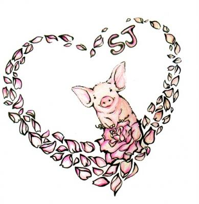 to design a pink pig tattoo for her,include pig ,rose and heart-shaped.